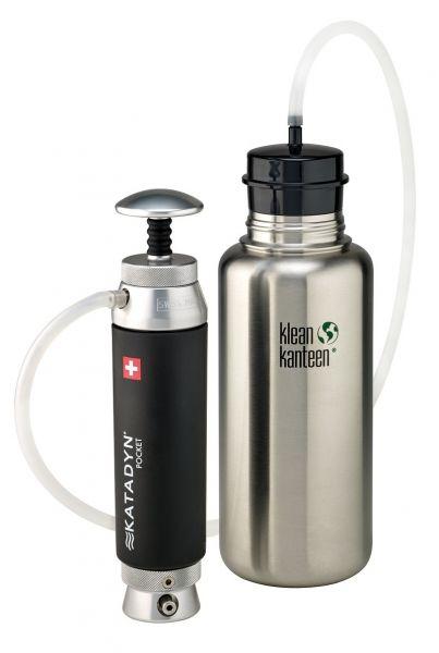 Katadyn Pocket mit Flaschenadapter und Klean Kanteen Wide