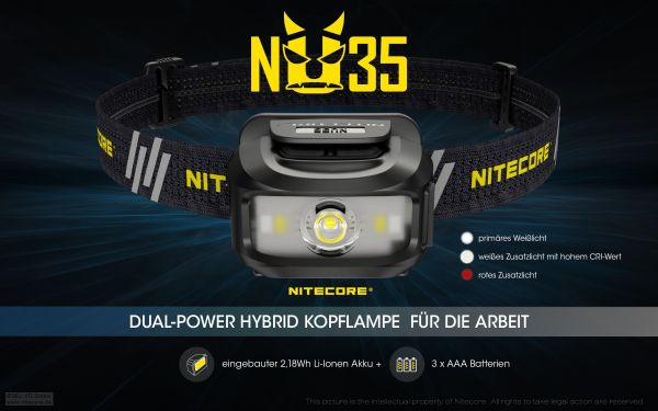Nitecore NU35 Dual-Power Hybrid Kopflamge