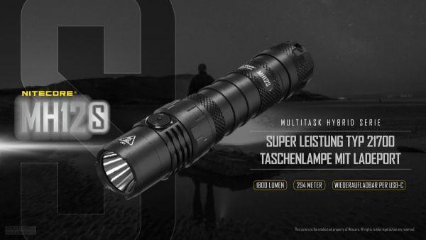 Nitecore MH12S - Super Leistung Typ 21700 Taschenlampe mit Ladeport
